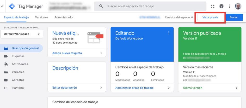 Modo de Vista previa en Google Tag Manager